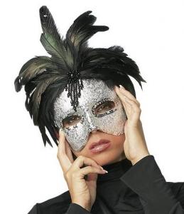 Mascara con pluma negra Plata