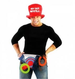Disfraz-juego HAY QUE METERLA (sombrero, slip y anillas)