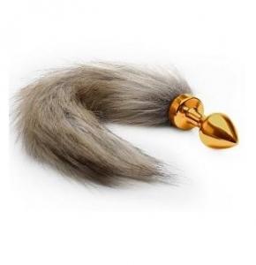 Plug anal dorado con cola de zorro castaña