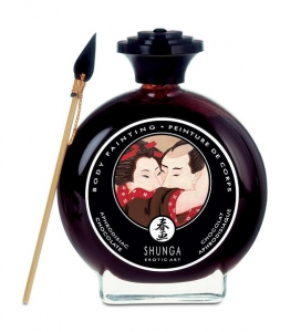 Shunga Chocolate Body Paint de cristal con pincel